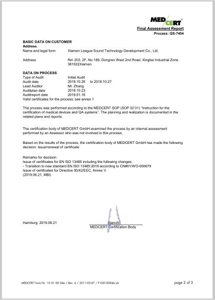Hearing Aid MED Certificate